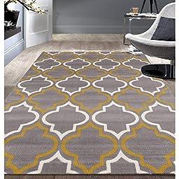 Modern Moroccan Trellis Grey/ Yellow Area Rug (7\'6x9\'5)