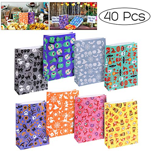 - Unomor Halloween Candy Bags for Kids Trick or Treat Party Favors with 8 Design, 40 PCS, Craft Paper
