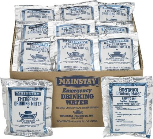 Mainstay Emergency Drinking Water 60 Packets/case 5yr Shelf Life by Mainstay Water Packs-60