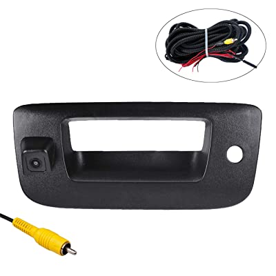 OMOTOR Tailgate Backup Reverse Handle with Camera Fit for Chevrolet Silverado/GMC Sierra 2007 2008 2009 2010 2011 2012 2013 Black: Car Electronics
