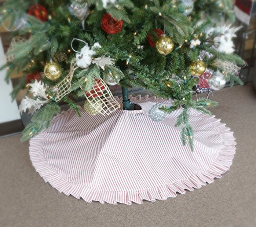 sale red ticking stripe farmhouse ruffle christmas tree skirt large 53 with monogram - Farmhouse Christmas Decor For Sale
