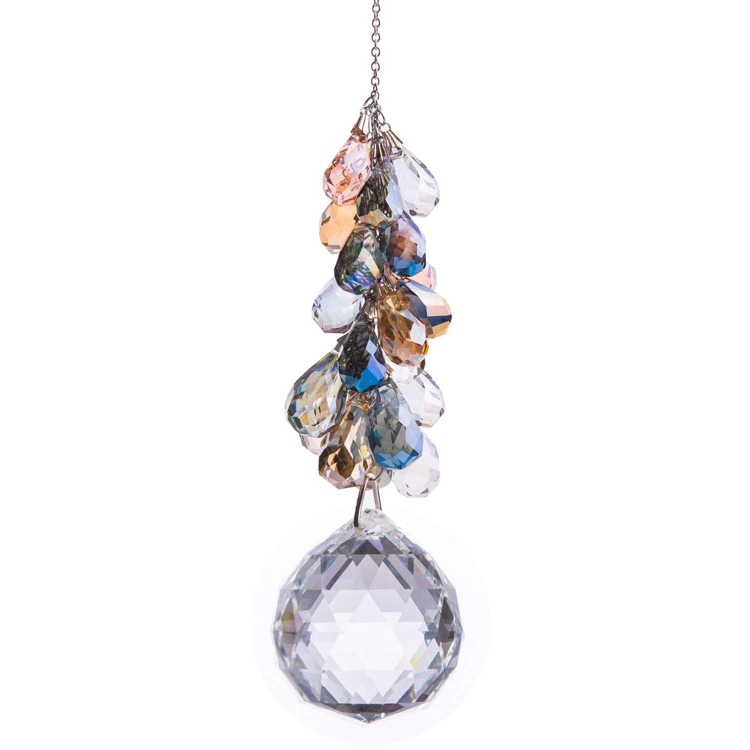 40mm Crystals Ball Prisms Suncatcher Hanging Ornament Chakra Crystals Rainbow Maker with Colors Crystal Pendants for Home,Office,Garden Decoration