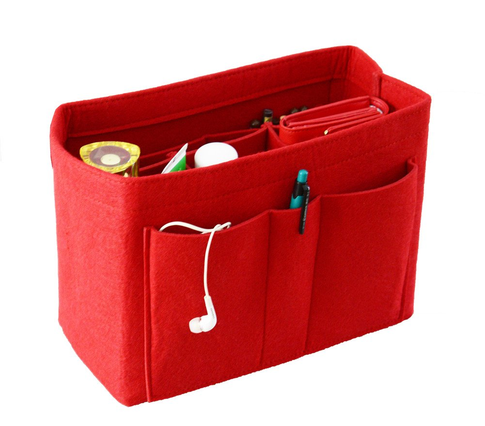 Felt Purse Organizer Bag, Base Shaper Organizer,Multipocket Insert Organizer, Red Large
