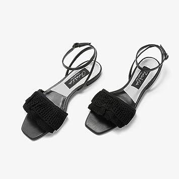 YQQ Sandalias De Primavera Y Verano Diseño De Pliegue De Volantes Zapatos Planos De Boca Cuadrada
