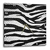 3dRose dpp_173295_2 Wild Africa Two Tone Leather Look African Zebra Pattern Safari Animal Print Wall Clock, 13 by 13-Inch