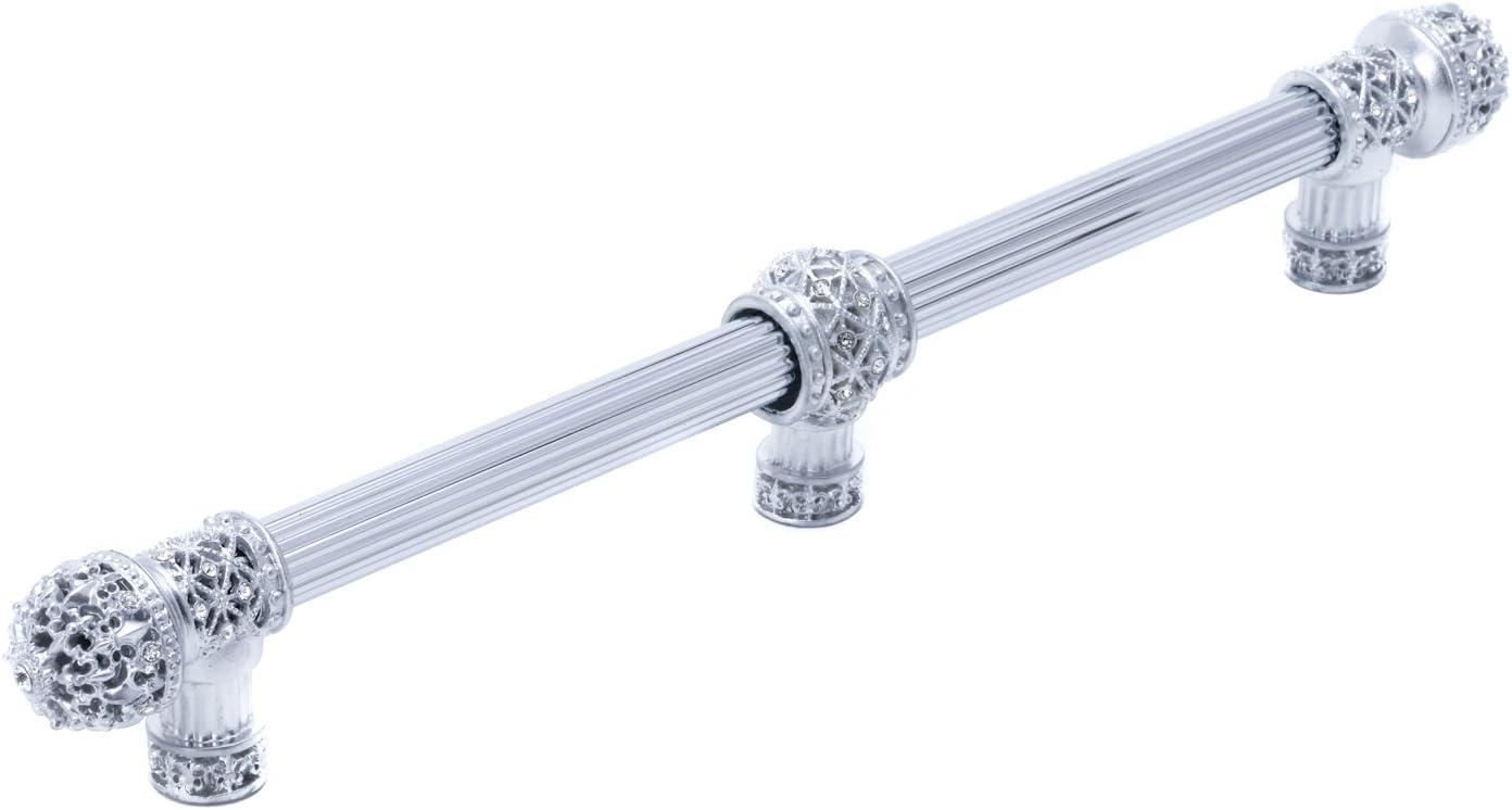 Carpe Diem Hardware 76547643-24C Versailles Fleur De LYS 9-Inch OC Long Pull Finial with Swarovski Crystals and Center Brace, Platinum