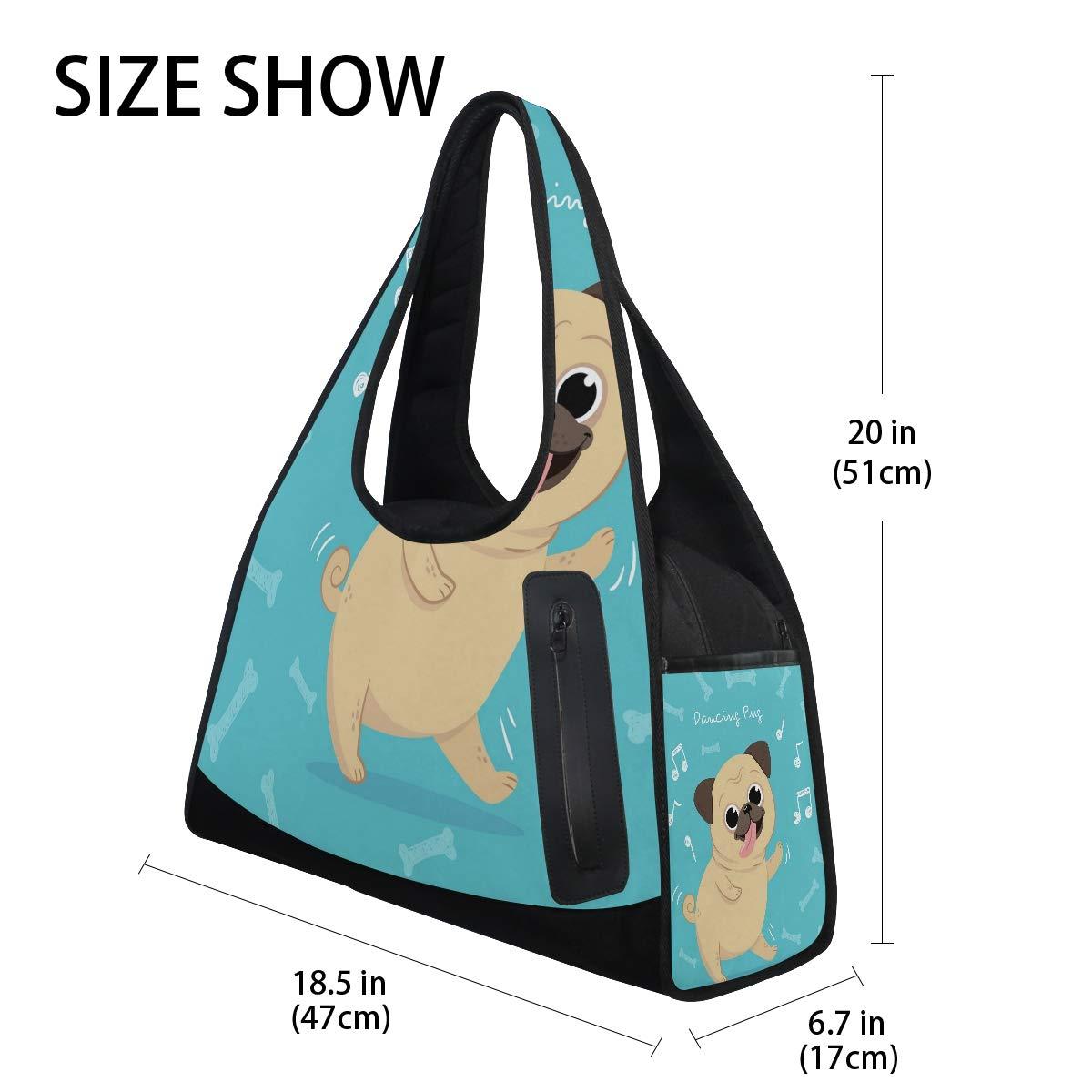 Pug Dancing Women Sports Gym Totes Bag Multi-Function Nylon Travel Shoulder Bag