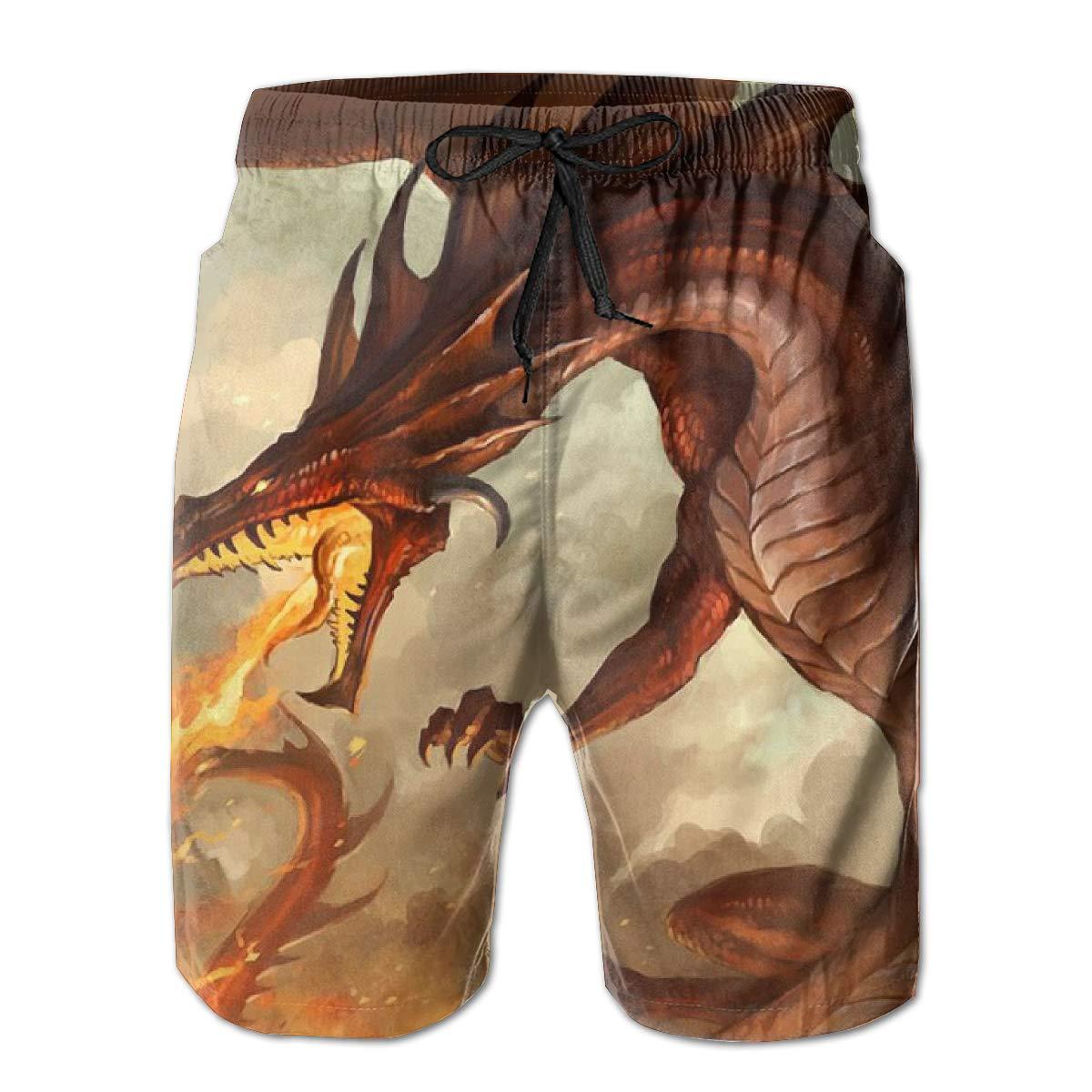 Men/'s Summer Beach Trunks Dragon Breathing Fire Drawstring Elastic Waist Quick Dry Swim Trunks