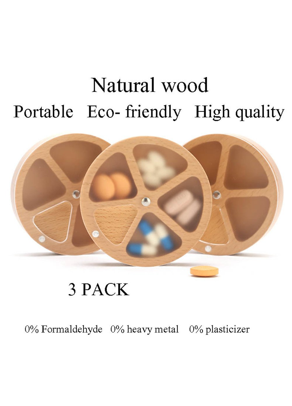 Peipei Pill Box Mini Portable 4 Compartments In Natural Solid Wood With Slide Cover,Multicolors3