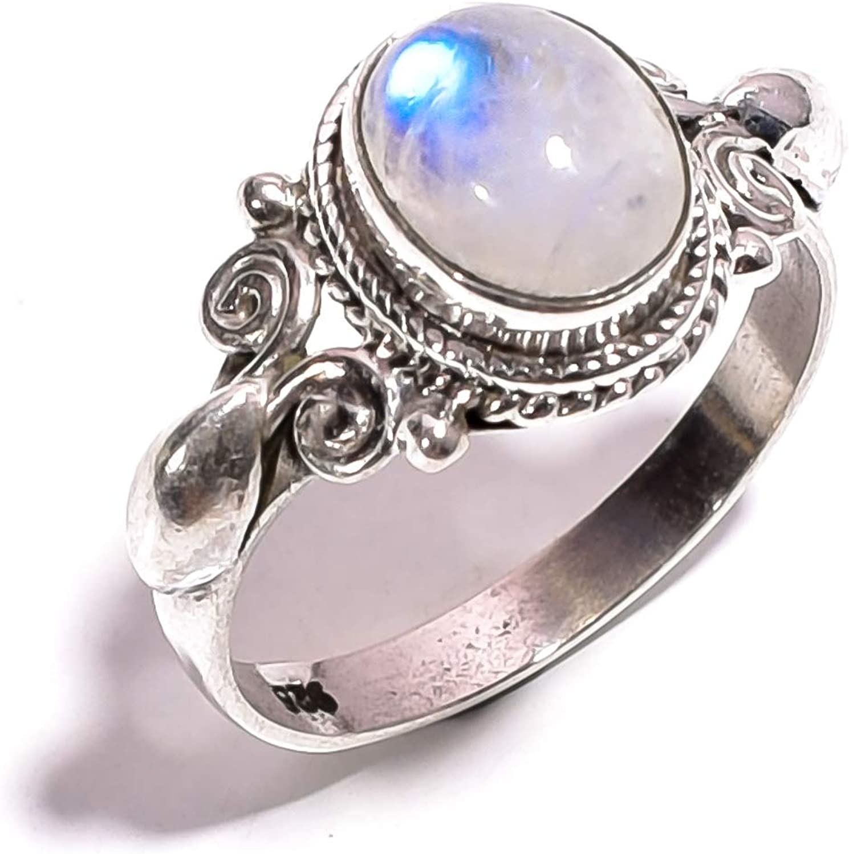 Mughal Gems & Jewellery - Anillo de plata de ley 925 con piedra lunar de arcoíris blanca natural (tamaño 6,75 U.S)