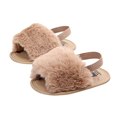 AutumnFall Newborn Infant Baby Boys Girls Letter Flock Soft Sandals Slipper Casual Shoes First Walkers (Age:3-6M, Khaki): Office Products