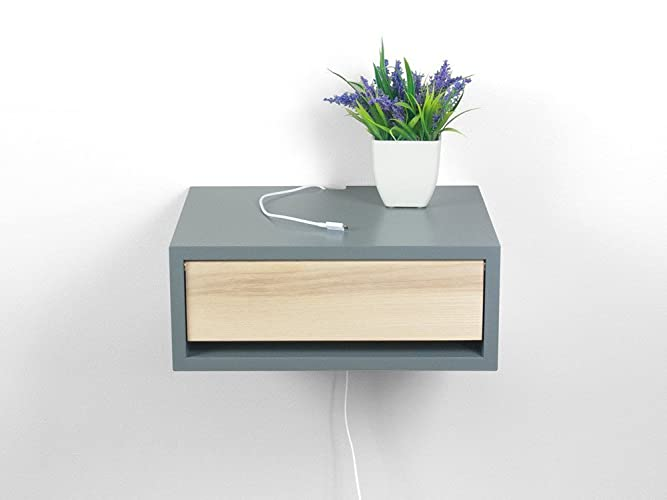 Contemporary Floating Nightstand, Floating Bedside Shelf, Wall Mount  Nightstand, Side Table, End