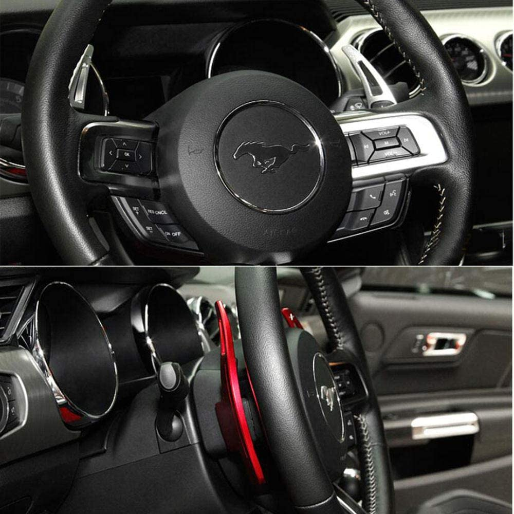 rpbll Car Steering Wheel Paddle Extend DSG Direct Shift Gear Paddle Extension For Ford Mustang 2015 2016 2017 2018 2019-Red