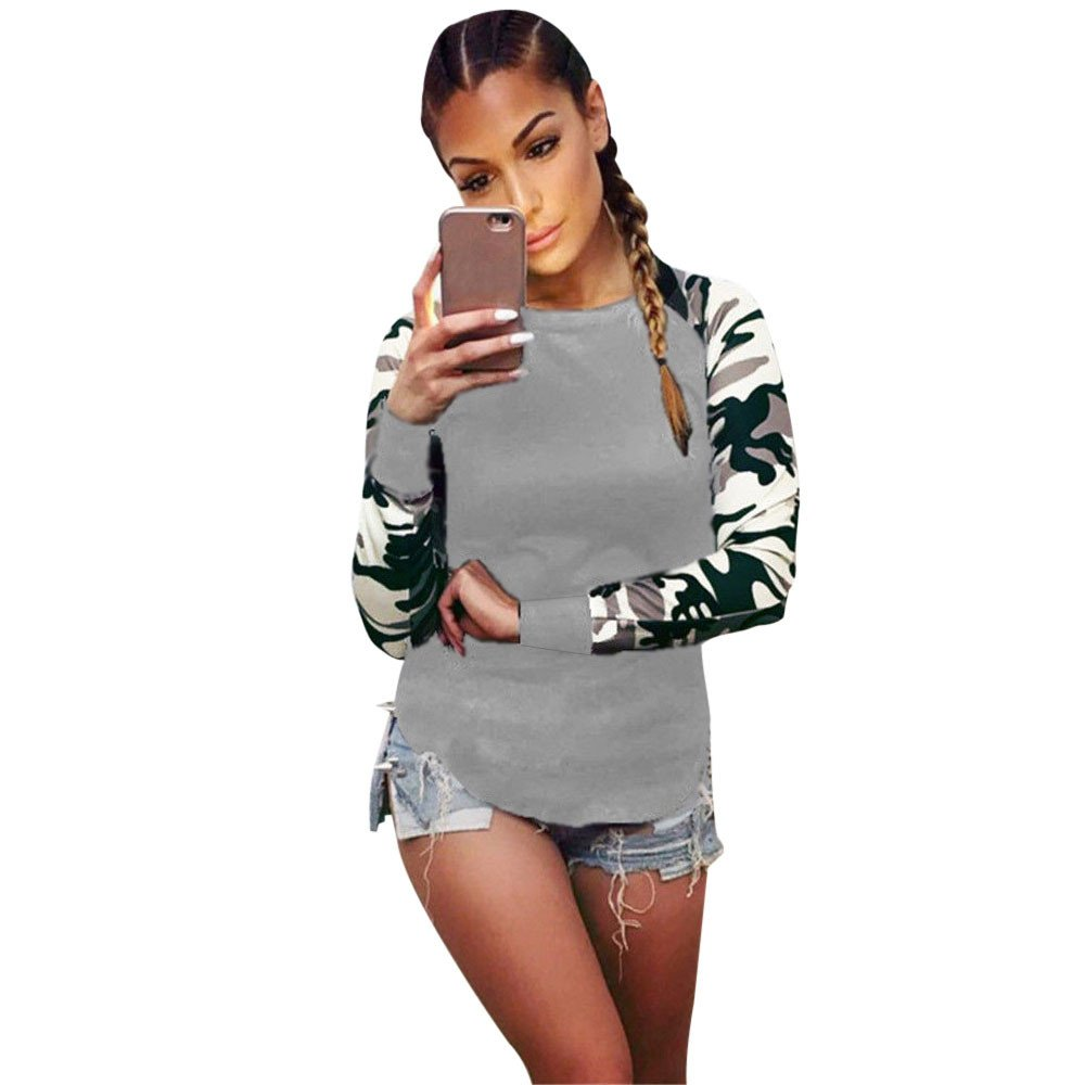 Kaitobe Womens Plus Size Long Sleeve Hoodie Sweatshirts O Neck Camouflage Patchwork Casual Tunic Pullover Blouse Tops
