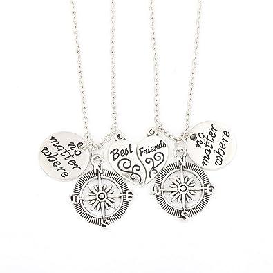 Amazon Com Br Gold Jewelry Bbf No Matter Where Compass Necklaces