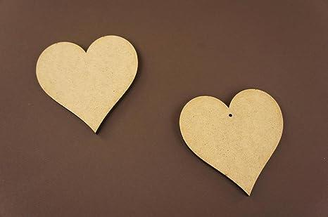 Corazón De Madera Mdf De 15 cm grande en blanco sin pintar Placa de forma artesanal