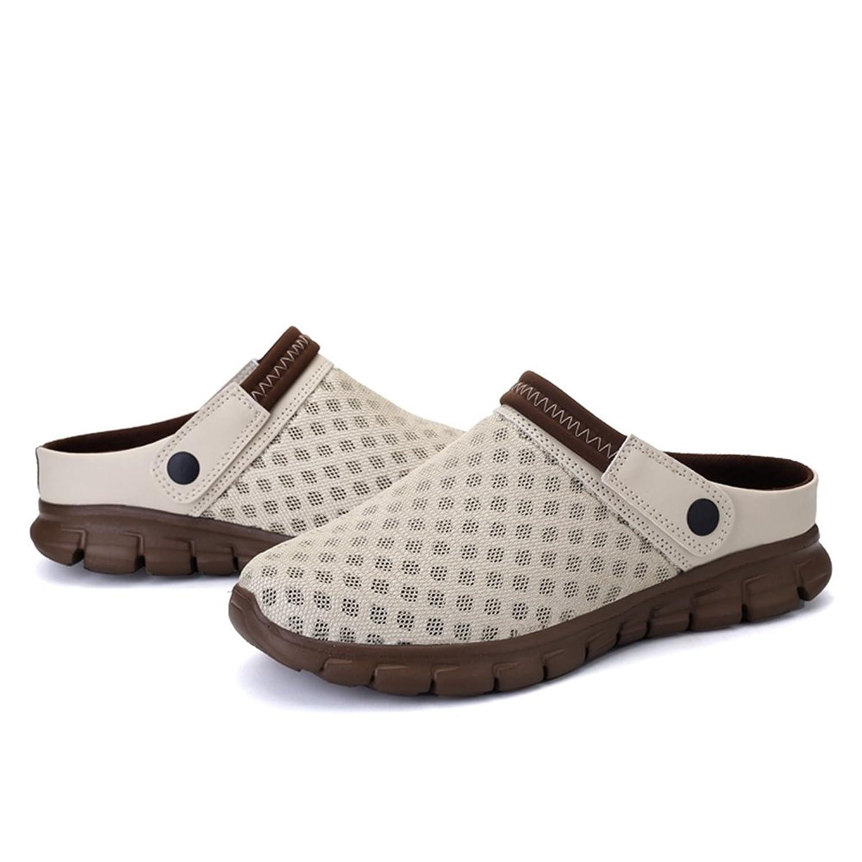 Herren Sommer Atmungsaktive Clogs Pantoletten Rutschfeste Badeschuhe Leichte Strand Aquaschuhe Sandalen für Damen Khaki