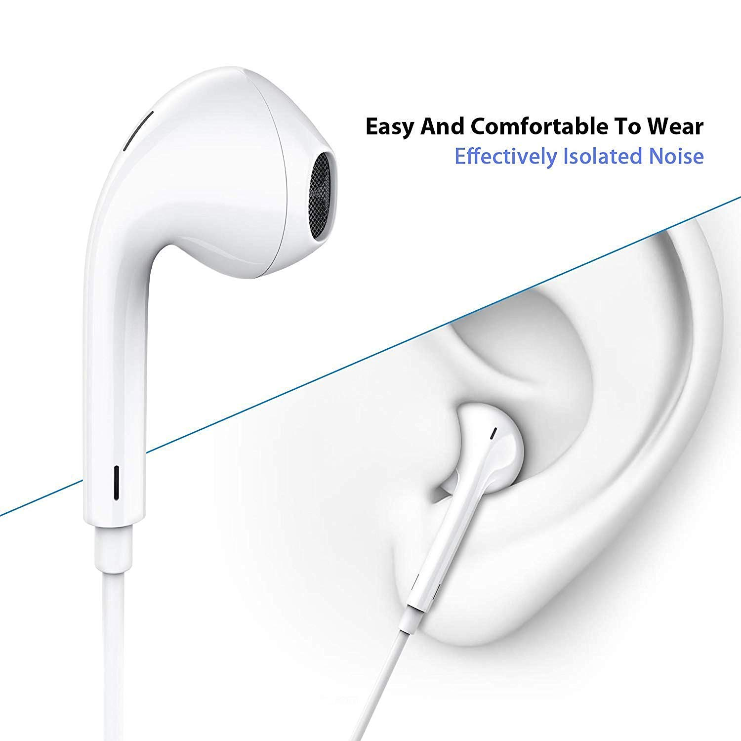 Android Headphones/Earphones/Earbuds,Supfox 3.5mm Aux Wired Headphones Noise Isolating Earphones with Built-in Microphone & Volume Control Compatible with Galaxy S9 S8 S7 S6 S5,More Android Device