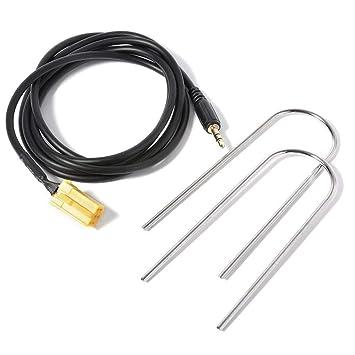 Cable AUX, 3,5 mm, entrada auxiliar con conector jack, adaptador dorado