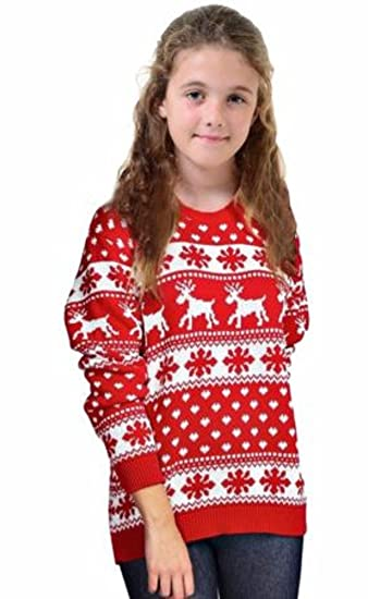 8e64c17d20b06 Image Unavailable. Image not available for. Color: R KON Kids Boy Girls  Christmas Unisex Rudolph Bambi Reindeer Xmas Knitted Novelty Jumper Sweater  (