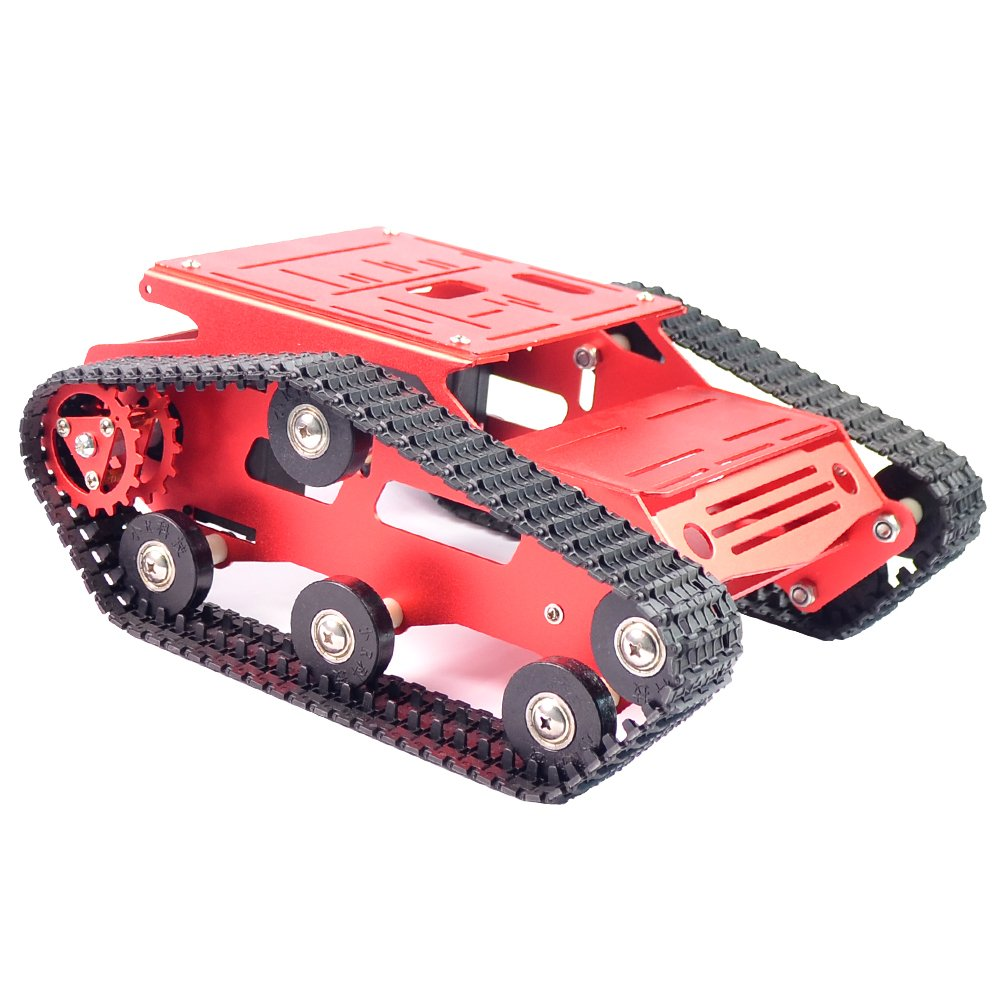 Smart Robot Car Tank Chassis Kit Aluminum Alloy Big Platform with 2WD Motors for Arduino/Raspberry Pi DIY Remote Control Robot Car Toys - Free Tools (Blue) WiFi Robot