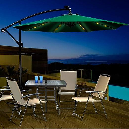 Masthome Parasol de Jardín con Luz Solar LED, Sombrilla para ...