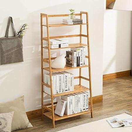 DULPLAY Repisa Escalera Bambú Estantería de bambú, 5 Nivel Multifuncional Estantería Decorativa Espesado Pie de Organizador de Almacenamiento CD s, Películas y Libros -A 67x34.5x154cm(26x14x61inch): Amazon.es: Hogar