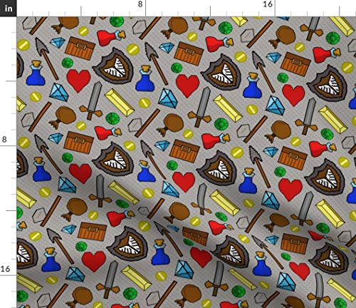 Spoonflower 8 Bit Fabric - 8 Pixel Retro Video Game Icons 8 8 Games Gray 8 Adventure Geek Gamer Cosplay 8 Print on Fabric by The Yard - Eco Canvas -