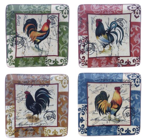 Certified International Lille Rooster 8-1/2-Inch Square Salad/Dessert Plate, Assorted Designs, Set of 4 Rooster Dessert