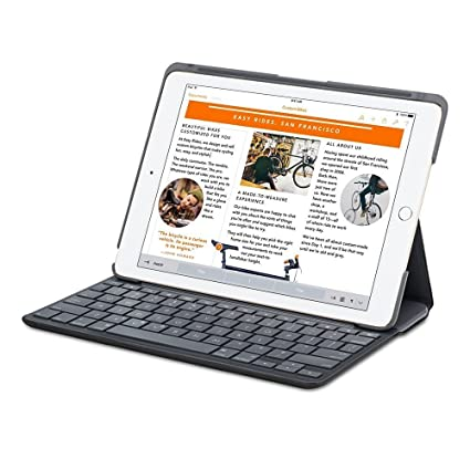 bdd617016f4 Amazon.com: Logitech Canvas Keyboard/Cover Case (Folio) for iPad Air 2 -  Black: Cell Phones & Accessories
