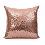 18 Inch (45 cm) Europe Luxurious Sequin Pillow Cushion Cover Pillow Case (Rose Gold)