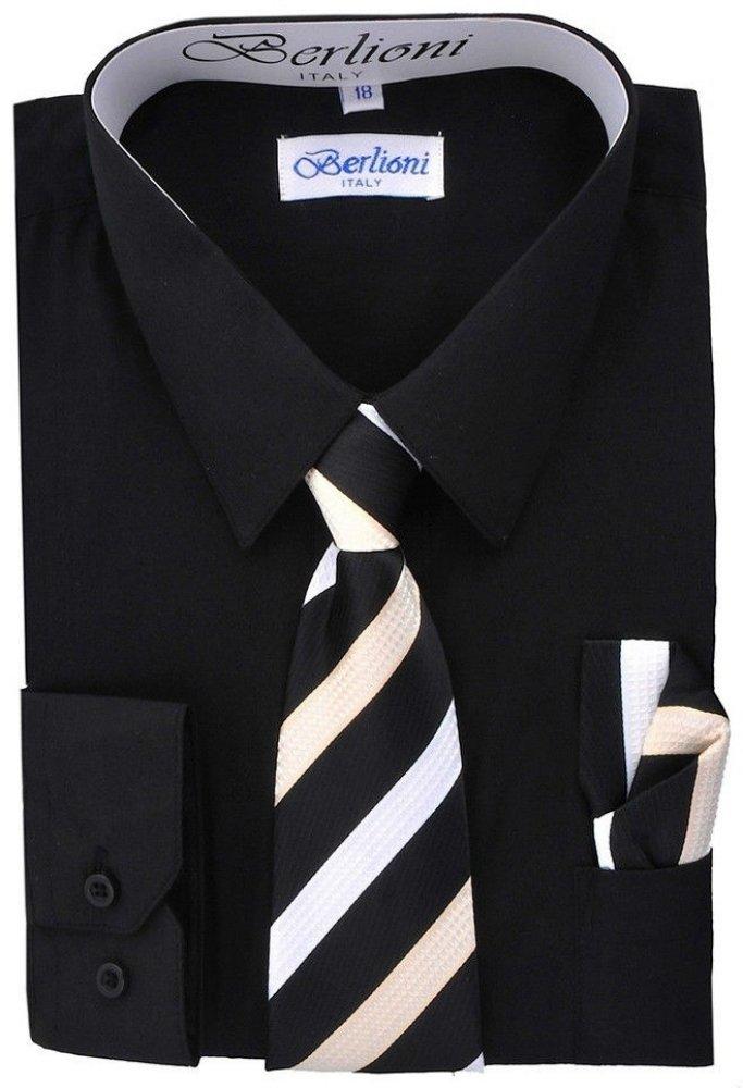Berlioni Boys Italian Long Sleeve Dress Shirt with Tie & Hanky-BLACK-14