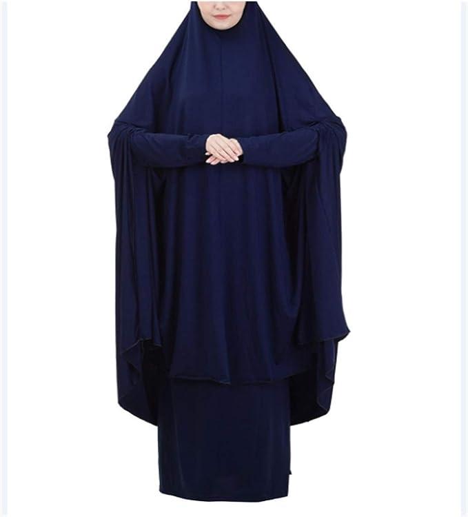 2 Piece Prayer Set Hooded Abaya /& Long Skirt Burqa Islamic Overhead Jilbab Dress