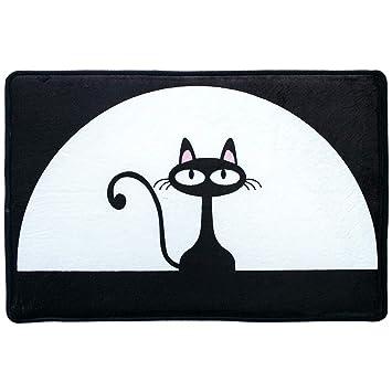 Alfombra antideslizante Gato negro de la historieta antideslizante Alfombra de entrada Alfombra Zapatos Alfombra Rascador Puerta para entrada Garaje Patio ...