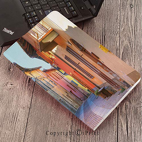 Case for Samsung Galaxy T820 T825 Slim Folding Stand Cover PU Tab S3 9.7,Italy,Narrow Paves Street Among Old Houses in Town Serralunga DAlba Piedmont Decorative,Pale Orange Brown Pink