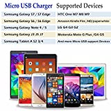 Android Charger, HI-CABLE 6ft Micro USB Cable Nylon Braided Cord with 2.1A/5V Dual Port Wall Charging Plug Block for Samsung Galaxy S6 S7 Edge, Note 5/4, J7 J5 J3, LG V10 G3 G4 K20 Plus, Moto G, More