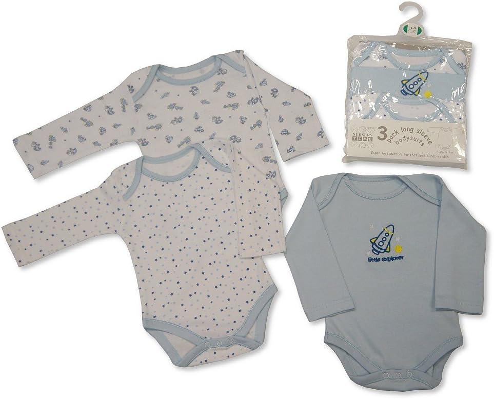 Tallas nb-24 meses 0-3 months beb/é ni/ña 3 Pack Algod/ón Largo Manga Body Cuerpo Camiseta