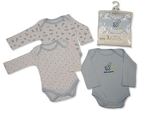 Bebé Niño 3 Pack Algodón Largo Manga Body Cuerpo Camiseta Tallas nb-24 meses -