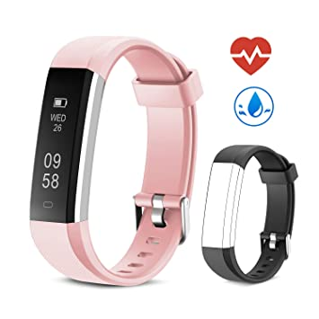 Yuanguo Montre Connectée, Bracelet de Fitness pour Homme Femmes IP67 Étanche Moniteur de Fréquence Cardiaque