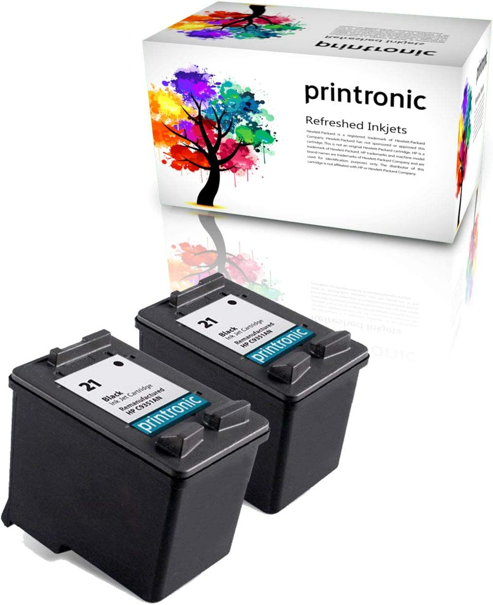 Printronic Remanufactured Ink Cartridge Replacement 2 Pack for HP 21 for PSC 1410 Deskjet F380 F2180 F2280 D1460 F4180 (2 Black)