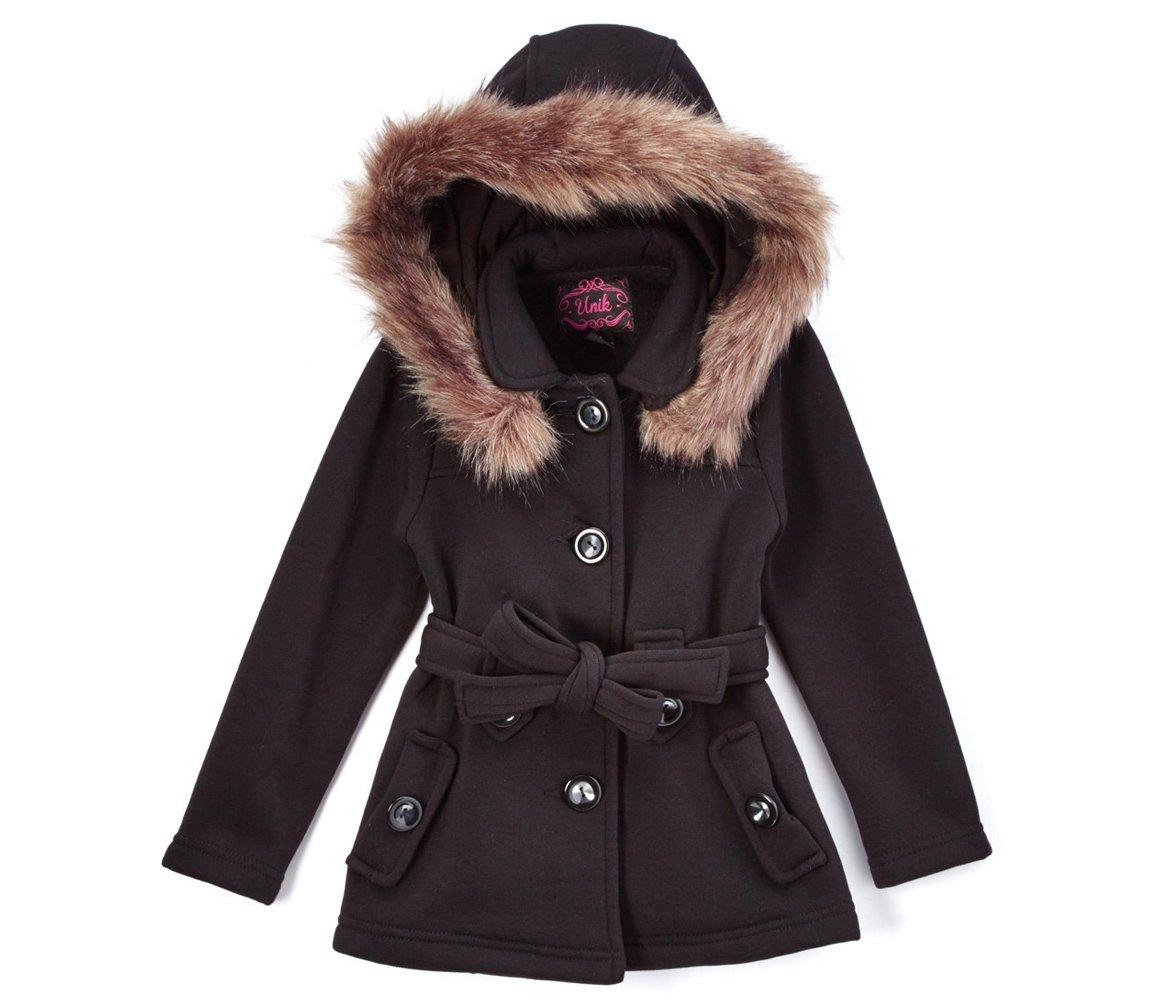 unik Girl Fleece Coat with Detachable Fur Lined Hood and Belt (Medium, Fuchsia)