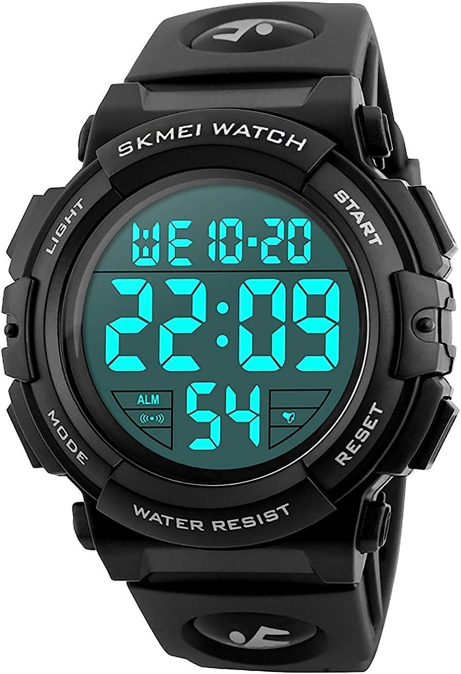 Relojes de Pulsera Digitales Deportivos Militares con Grandes Números a Prueba de Agua hasta 50M Reloj Negro de Pulsera Casual para Hombres de Goma
