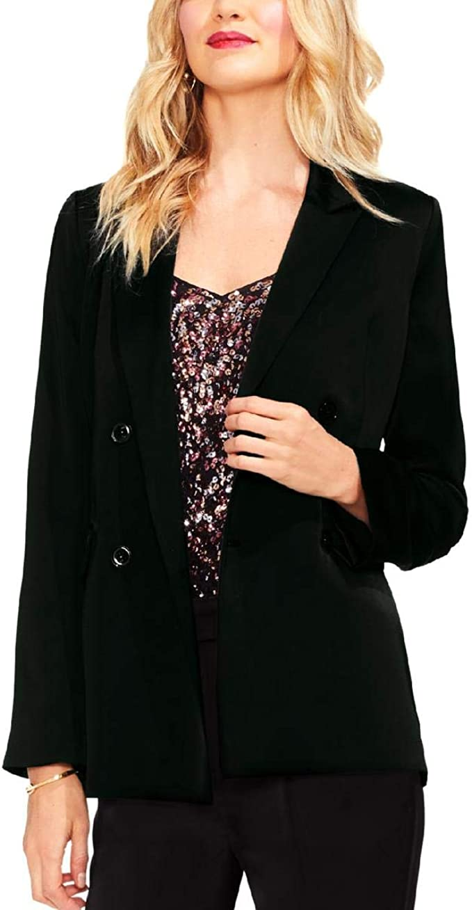 Womens Long Sleeves Pearl  Collar Pockets Single Breasted Jacket Business 9