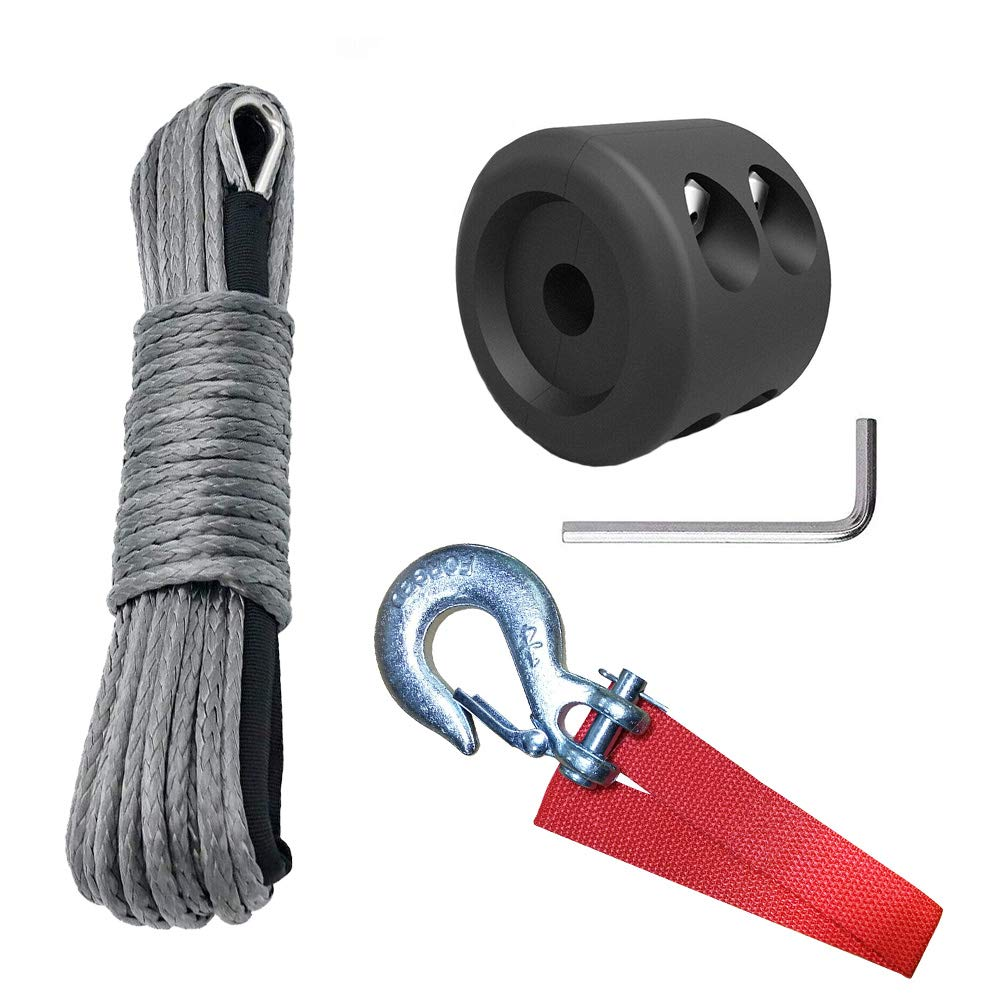 HOTSYSTEM 1/4'' x 50' 7700LBs Synthetic Towing Winch Line Cable Rope with Sheath + 1/4'' Towing Winch Hook + Winch Cable Hook Stopper for ATV UTV SUV Jeep Winches