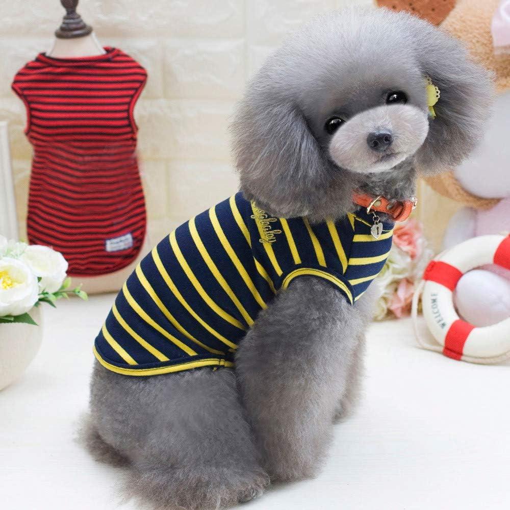 Smniao Sommer Haustierkleidung Hund Kleidung Katze Baumwolle T-Shirt Karikatur Gestreifte Weste Rock Kost/üm Kleine Hund Kleid