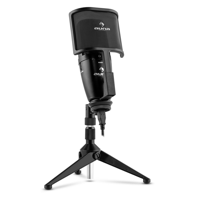 Auna Studio-Pro microfono a condensatore (capsula elettrete di 32mm, USB, stativo da tavolo, membrana, protezione dal vento, compatibile con Windows e Mac) - Nero HKMIC-0025-B