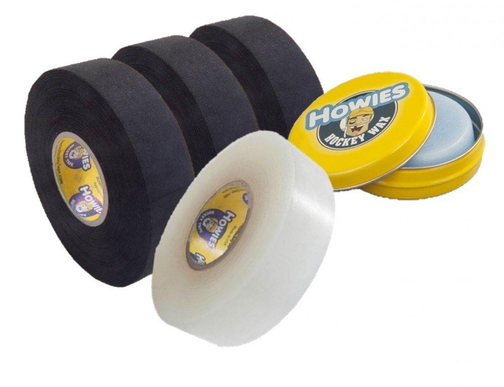 3x Schlägertape Profi Cloth 38mm, 1x Shine Tape, 1x Hockey Wachs Howies