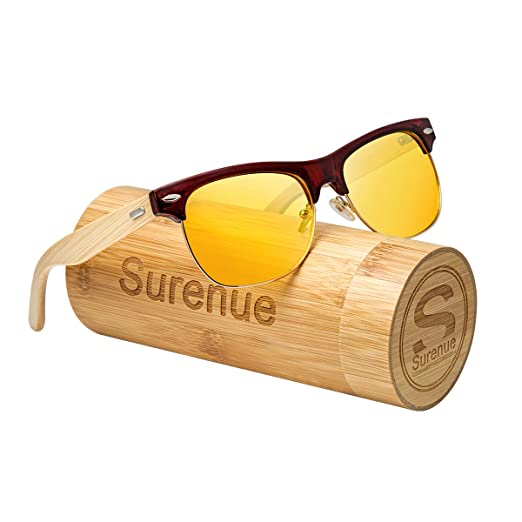 443e74514f Surenue night driving glasses anti glare Wood polarized Yellow Tint  Polycarbonate Lens Safety Sunglasses Men Women