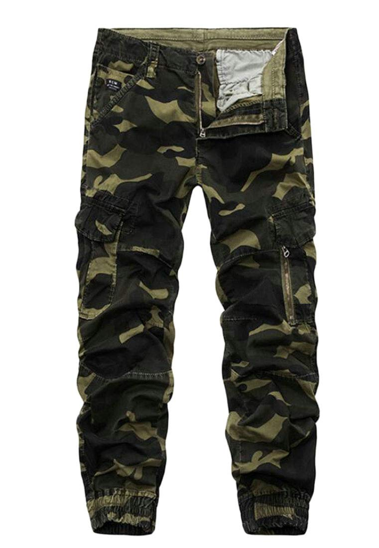 Domple Men's Multi Pockets Jogger Basic Camouflage Print Military Cargo Pant 1 34