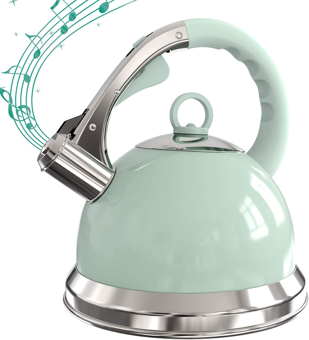 3 Litre Green Whistling Tea Kettle Stovetop Stainless Steel Teapot with Loud Whistle, Anti-Rust and Anti-heat Handle
